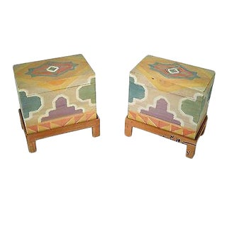 Southwest Style Pair of Lidded Chest on Frames End Tables For Sale