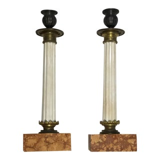 1960s Italian Marble and Bronze Candlestick - a Pair For Sale