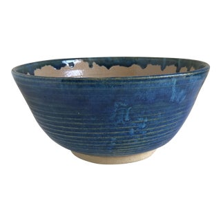 Vintage Handmade Pottery Drip Glaze Bowl For Sale