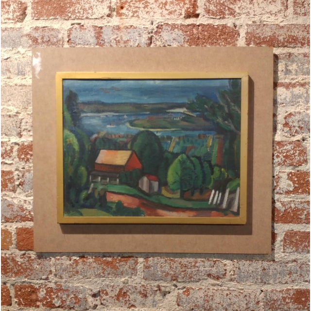 "Jean Liberte -Picturesque Village over a Lake landscape - original Oil Painting frame size 21 x 24"" board size 13 x 17""..."