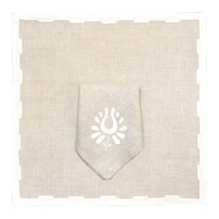 Hanover Placemats, Oatmeal and White - Set of 2 For Sale