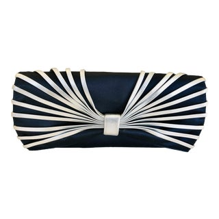 Rodo New Navy Silk and Silver Leather Clutch For Sale