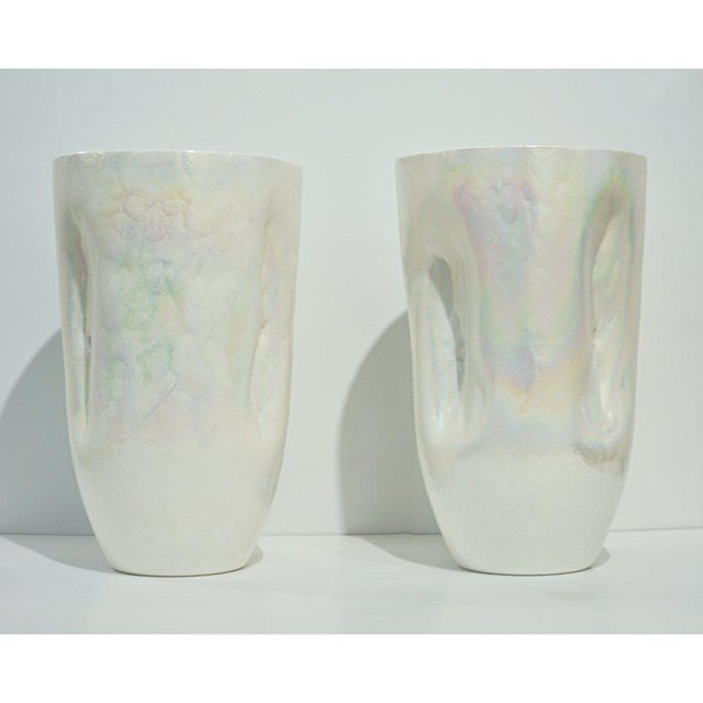 Contemporary Minimalist Iridescent Pearl White Murano Glass Vases - a Pair For Sale - Image 9 of 9
