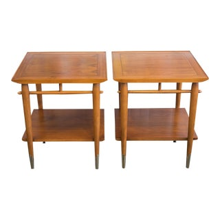 1950s Danish Modern Lane Copenhagen Walnut Two Tier Side Tables - a Pair