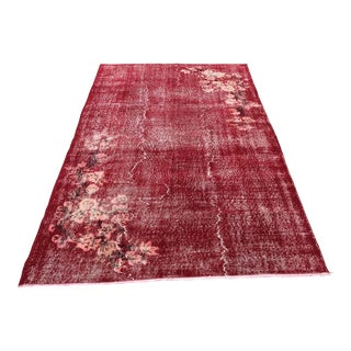 Turkish Oushak Distressed Red Wool Floor Rug For Sale