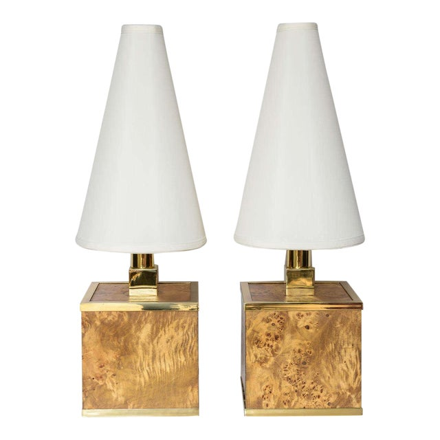 Burlwood and Brass Lamps by Romeo Rega For Sale