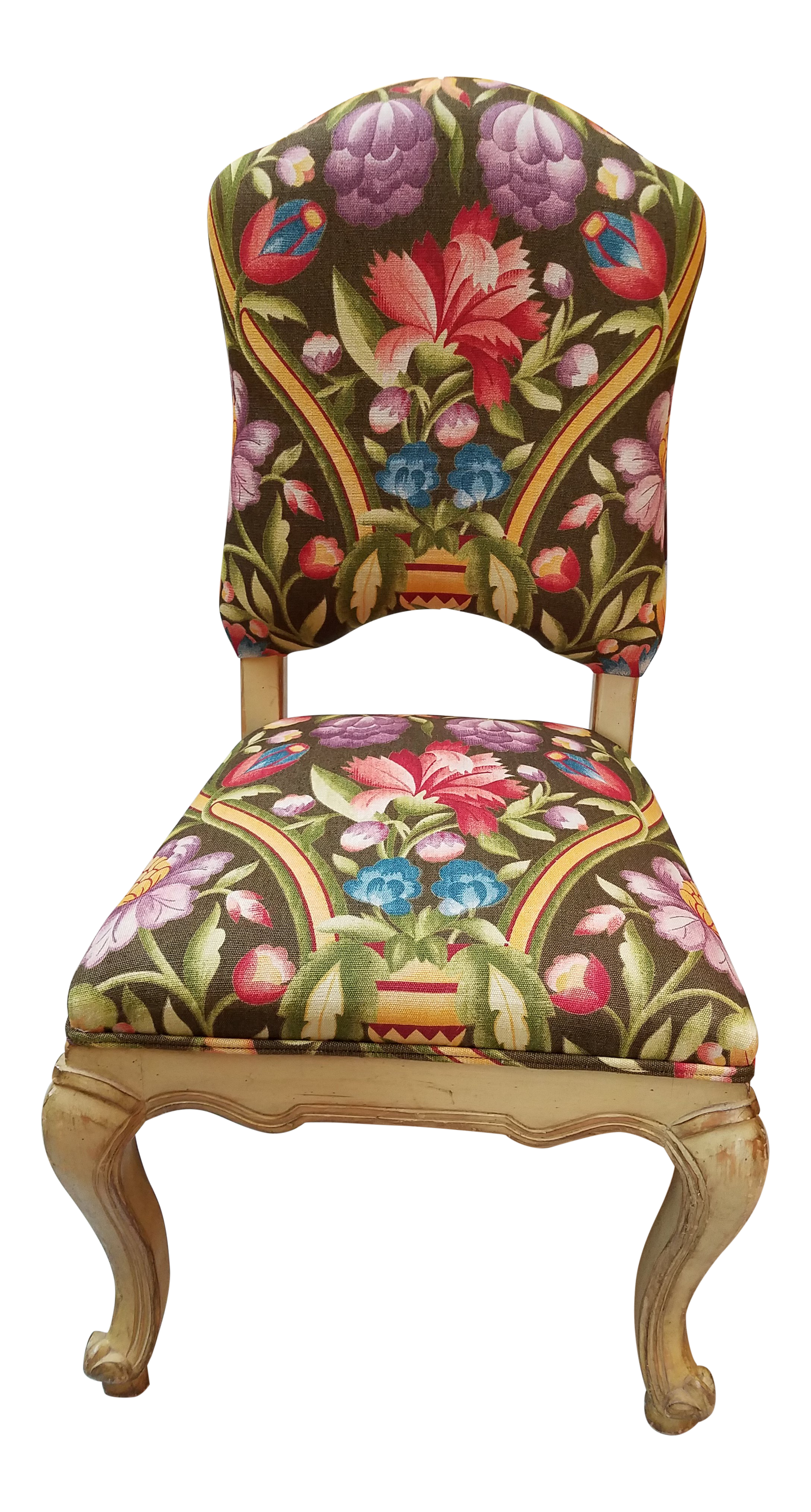 High Quality Venetian Painted Tall Back Side Chair In Clarence House Printed Linen  Fabric.