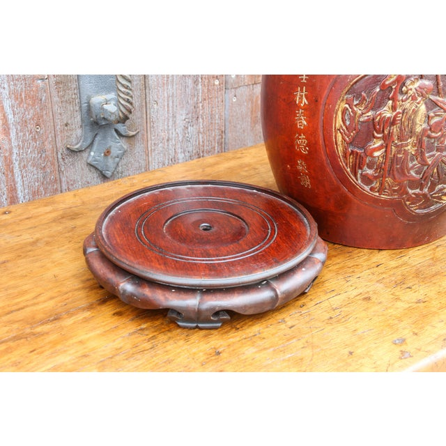 Red Shou Lao Carved Barrel Container on a Stand For Sale - Image 8 of 11