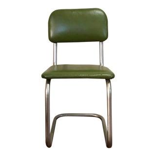 1960s Retro Avocado Vinyl Aluminum Chair For Sale