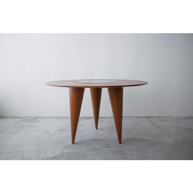 Wood Mid Century Round 3 Legged Danish Solid Teak Dining Table For Sale - Image 7 of 7