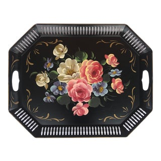 Vintage Tole Ware Hand Painted Octagonal Pierced Lattice Edge Tray For Sale