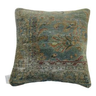 Blue Border Kashan Pillow For Sale