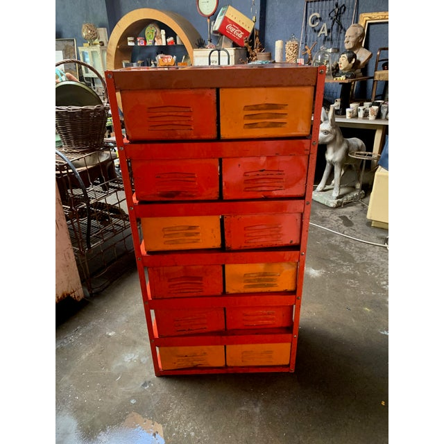 Industrial Vintage Industrial Orange 10-Basket Metal Locker Storage For Sale - Image 3 of 13