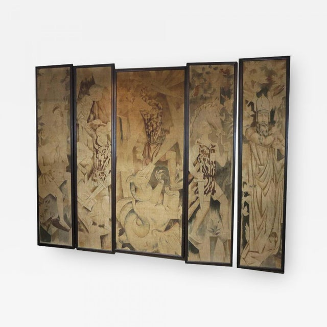 Art Deco Theatre Painted Tapestry Panels, Set of Five For Sale In Los Angeles - Image 6 of 6