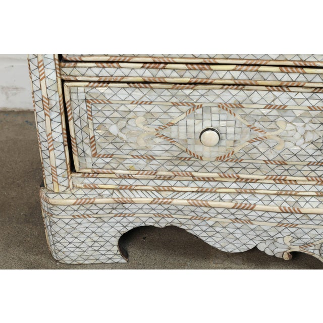 Wood Pair of Syrian White Mother-Of-Pearl Inlay Wedding Dressers For Sale - Image 7 of 10