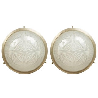 1960s Sergio Mazza Petite 'Sigma' Wall or Ceiling Lights for Artemide - a Pair For Sale