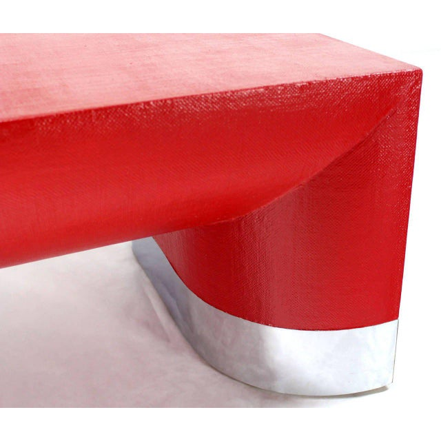 Grass cloth mid-century modern massive base coffee table.