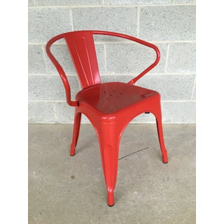Industrial Fire Engine Red Metal Bistro Arm Chairs - Set of 8 Preview