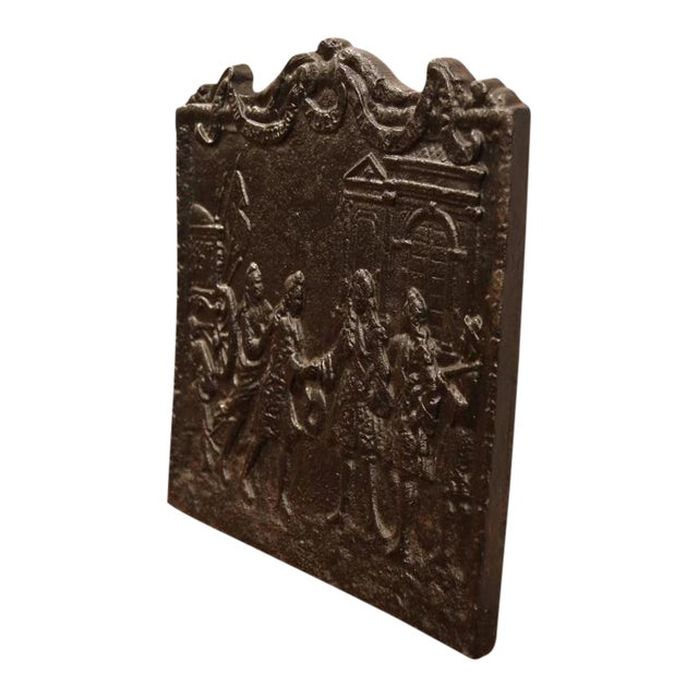 18th Century French Louis XVI Black Iron Fireback Depicting King For Sale