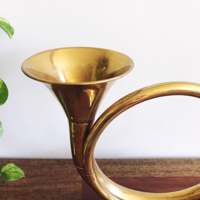 Rustic European Vintage Brass Horn With Wood Base For Sale - Image 3 of 6