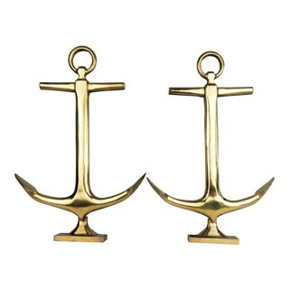 Brass Anchor Andirons - a Pair For Sale