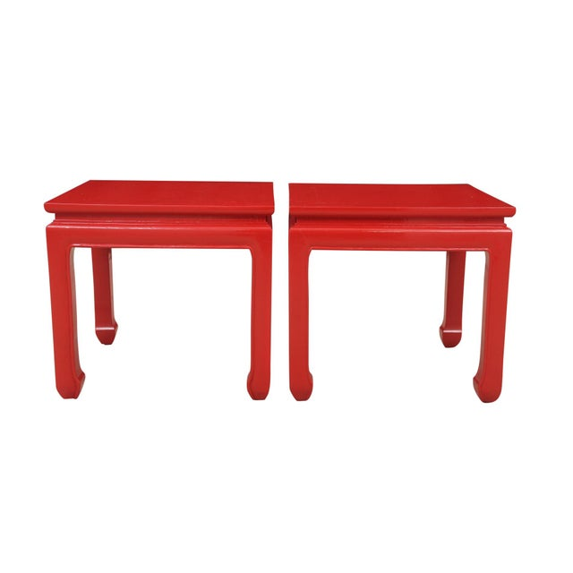 Ming Style Red End Tables - a Pair For Sale In Tampa - Image 6 of 6