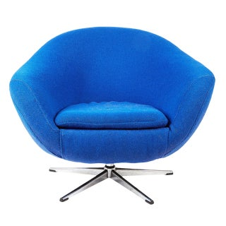 Cobalt Blue Swivel Armchair For Sale