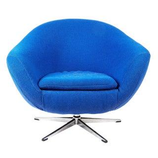 Mid Century Modern Blue Swivel Armchair For Sale