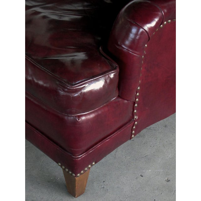 A Handsome and Comfortable American 1940's Chesterfield Club Chair and Ottoman With Deep Burgundy Leather For Sale - Image 4 of 6
