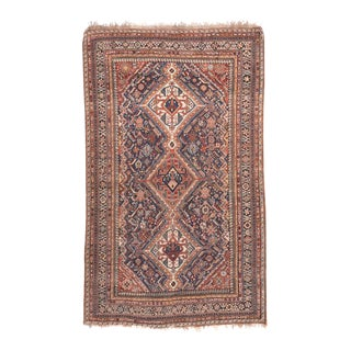 Antique Handmade Ghashkai Persian Rug For Sale