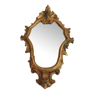 Vintage Small Florentine Gold Leaf Ornate Mirror