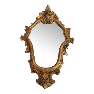 Vintage Small Florentine Gold Leaf Ornate Mirror For Sale