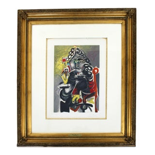 Mid Century Modern Pablo Picasso Musketeer a La Pipe 235/300 Litho Framed 1940s For Sale