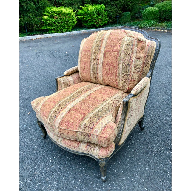 Vintage French Bergere Chair With Paisley Upholstery For Sale - Image 13 of 13