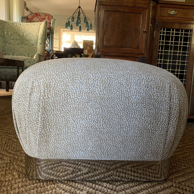 Karl Springer Style Chrome and Velvet Souffle Pouf Ottoman on Casters For Sale In New York - Image 6 of 9