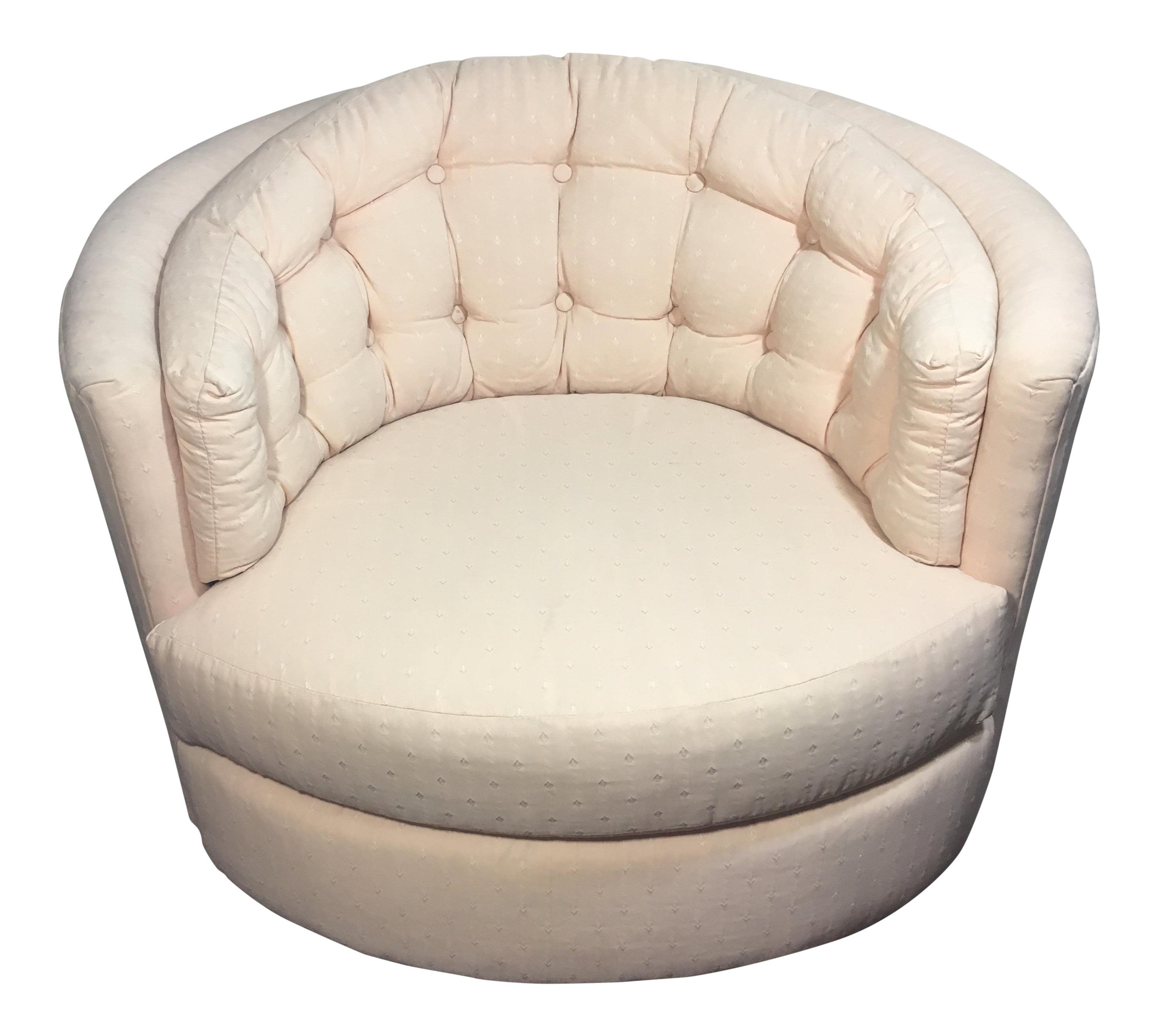 Milo Baughman Style Vintage Swivel Barrel Chair