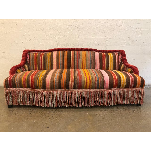 Custom Made Sofa in Vintage Flat Woven Kilim For Sale - Image 11 of 11