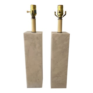 Pair of Marble Plinth Lamps in the Manner of Sonneman For Sale