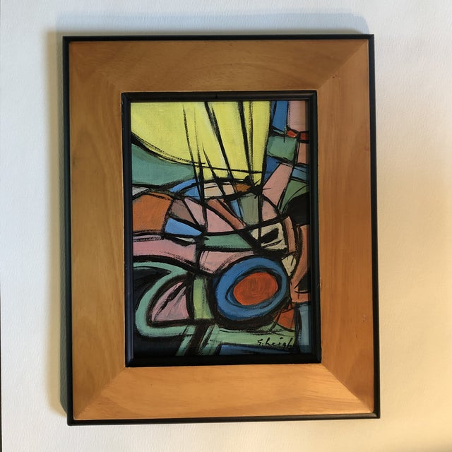 "2010s Original Stephen Heigh Contemporary Small Abstract Painting "" Ray of Sun"" For Sale - Image 5 of 5"