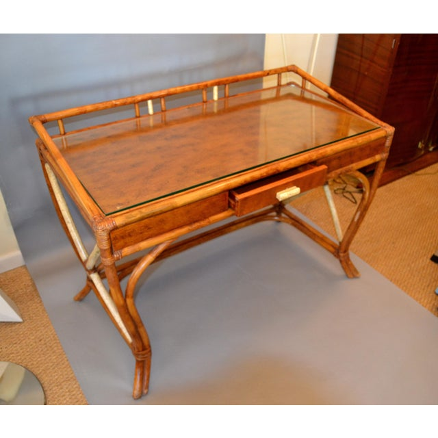 Boho Chic Vintage Handcrafted Bamboo Desk, Writing Desk With Drawer & Glass Top For Sale - Image 10 of 13