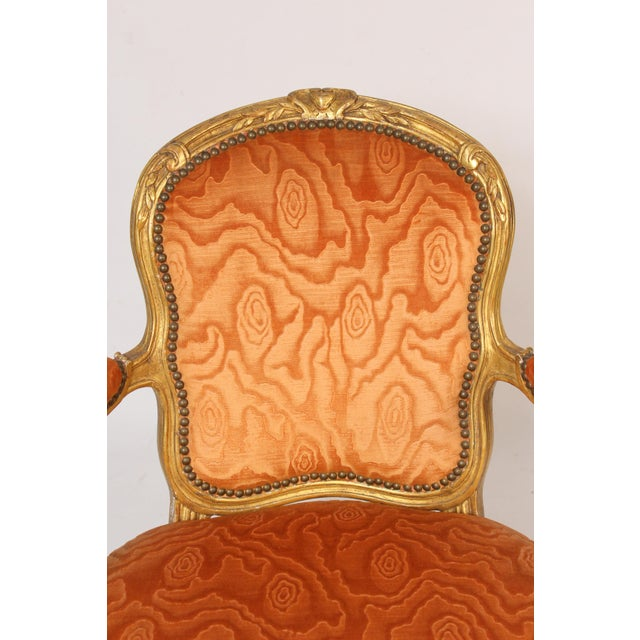 Late 19th Century Antique Louis XV Style Gilt Wood Armchairs - a Pair For Sale - Image 5 of 11