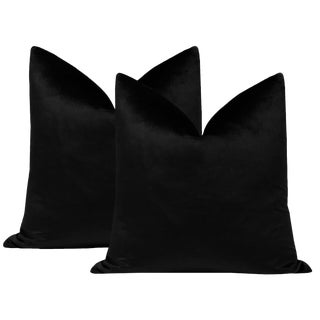 "22"" Italian Silk Velvet Pillows in Onyx - a Pair For Sale"