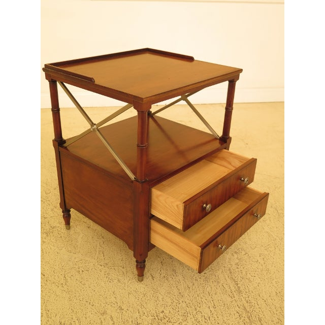 2000s Vintage Ethan Allen 2 Drawer Mahogany Side Table For Sale - Image 5 of 12
