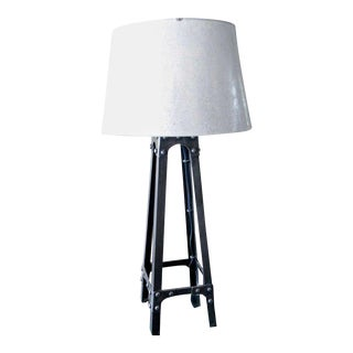 Charming Industrial Iron Lamp With Galvanized Metal Shade For Sale
