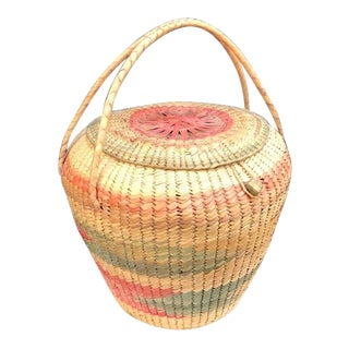 Vintage Pink & Green Native American Lidded Basket For Sale