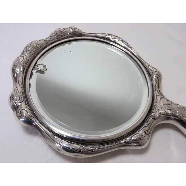 1900s Antique Sterling Silver Hand Mirror For Sale - Image 5 of 10