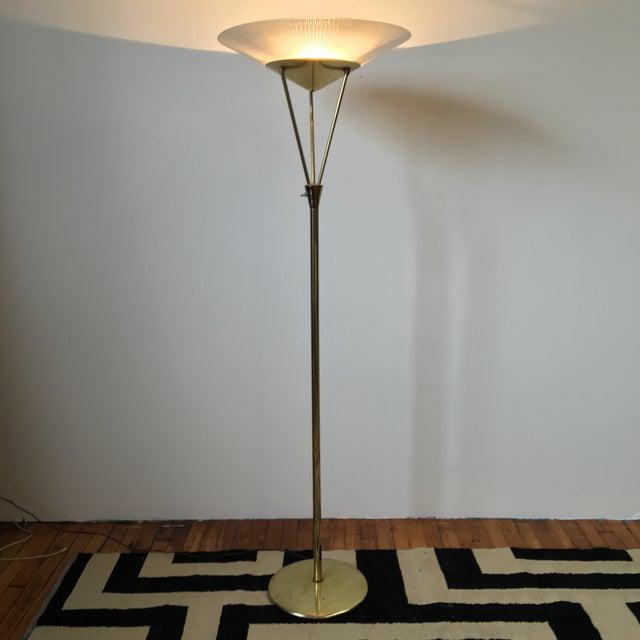Mid-Century Modern Gerald Thurston Reverse Tripod Brass Floor Lamp For Sale - Image 3 of 6