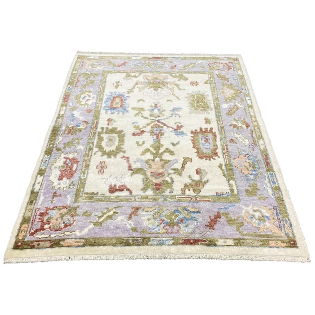 Turkish Contemporary Floral Hand-Knotted Oushak Area Rug For Sale - Image 13 of 13