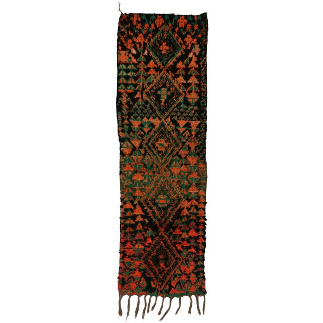 Textile Vintage Moroccan Mid-Century Modern Tribal Style Berber Runner Rug - 2′7″ × 8′3″ For Sale - Image 7 of 7