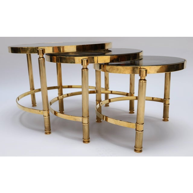 Hollywood Regency Brass Nesting Tables With Smoked Glass Tops - Set of 3 For Sale - Image 3 of 10
